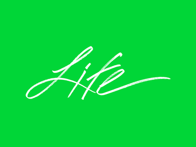 Life typography logo handwritten script