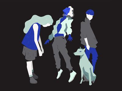 3+1 characters dog illustration