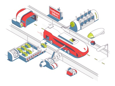 Continuous Delivery methodology developement engine car bus code develop illustration design pepper