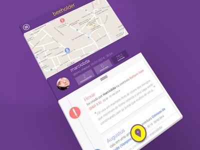Beeholder1 app mobile interface map timeline avatar icon geolocation roboto flat