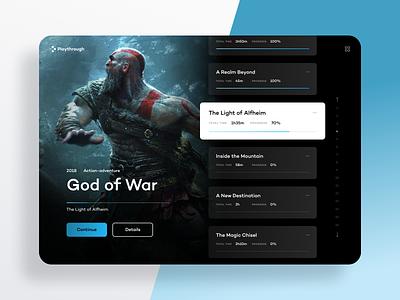 Playthrough — Game Screen playthrough walkthrough videogames gaming game web uxdesign webdesign uidesign website ux ui