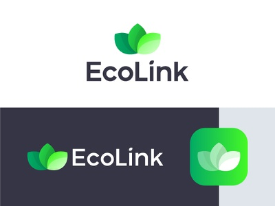 EcoLink App friendly connect leaves leaf environment link eco identity brand logo