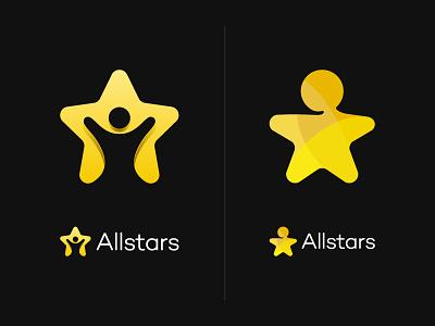 Allstars Concepts negative space yellow person star agency talent allstars identity brand logo