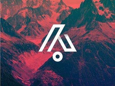 Adventour monogram letter outdoors hiking climbing compass mountains adventure adventour a logo