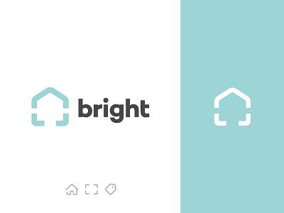 Bright Logo realestate photo camera focus house photography home bright brand logo