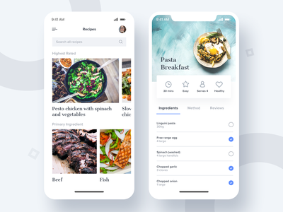 Recipes ingredients food mobile uidesign recipes app ux ui