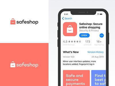 Safeshop Branding shopping privacy padlock safe shop simplistic minimal mark logo design branding identity brand logo