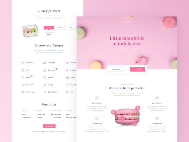 Bakery Website — Home/Product Page food bakery macaron ecommerce shop product home webdesign website web uxdesign uidesign ux ui
