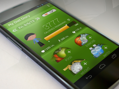 Dribbble Shot mydietdiary diet app mobile ui exercise app android