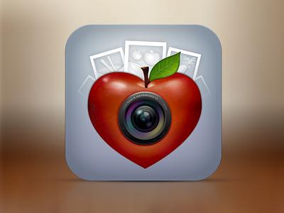 Pic Healthy photo food diary app icon ui design apple lense
