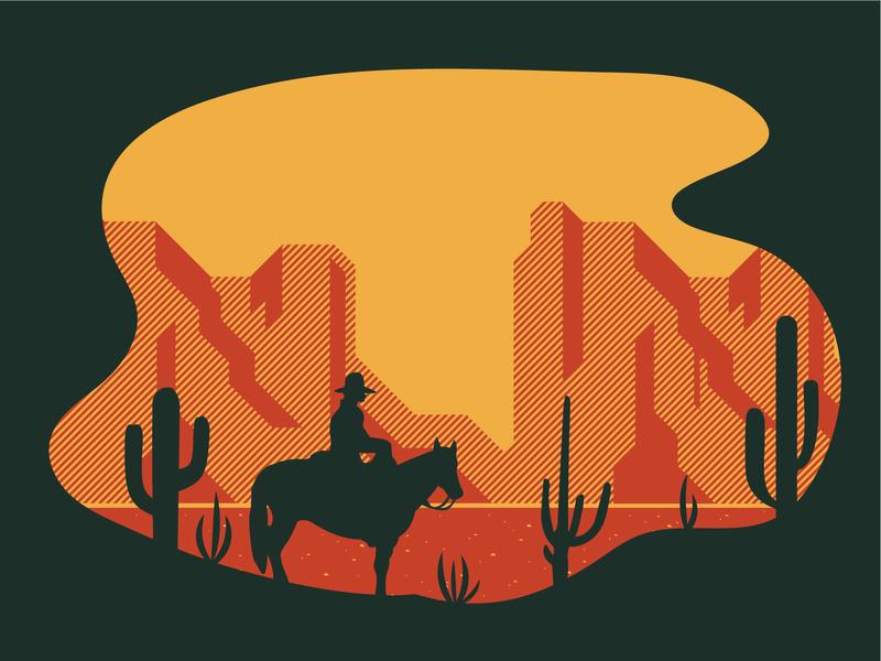 The Scenic Southwest screen print mesa cactus desert illustration southwest