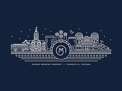 Myriad Brewing Company Illustration vector design brewing illustration tshirt