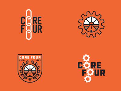 Core Four sunrise chain gears work values highway construction art direction branding