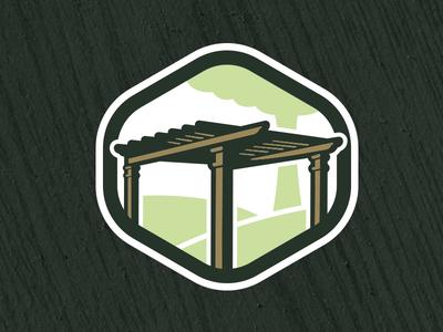 Peaceful Settings logo mark memphis pergola outdoors construction logo art direction illustration