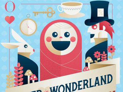 Oliver in Wonderland Illustration storybook baby poster playing card alice in wonderland art direction illustration