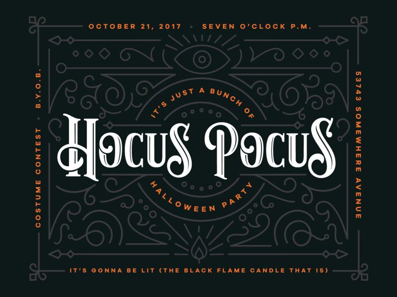 Halloween Party Invitation black flame candle party hocus pocus design art direction invititation halloween