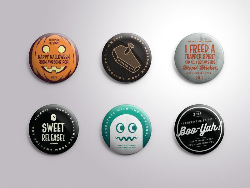 Halloween Button set pins illustration ghost art direction design button halloween