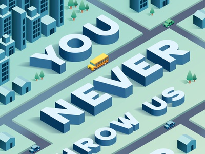 You Never Throw Us Under the Bus Illustration back to schoool city bus vector typography art direction isometric illustration