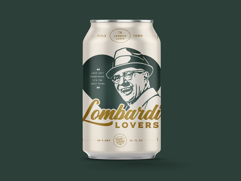 Lombardi Lovers Beer Can lager memphis illustration vince lombardi green bay packers beer can design beer can beer vector typography design art direction