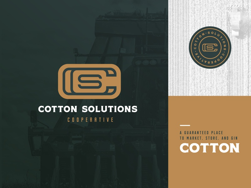 Cotton Solutions Cooperative logo 3 farming cotton logo design art direction memphis