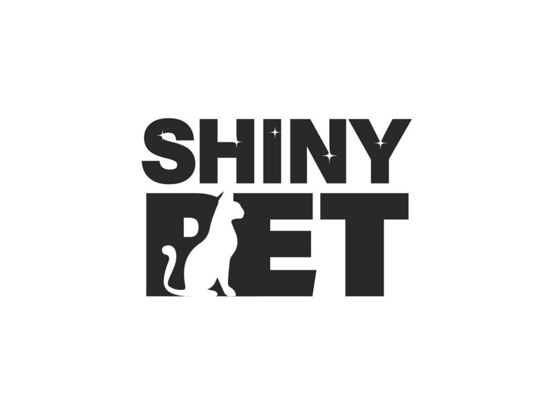 Shiny Pet cat logo kitty cat character illustration textlogo minimal creative logo