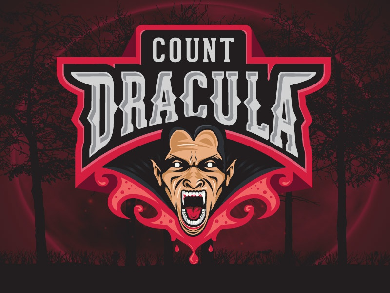 Count Dracula esports mad goth evil angry blood dracula vampire sport simple creative