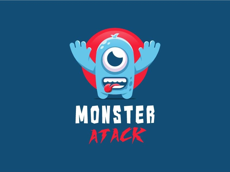 Monster 05 logo playful character funny monster young baby cute