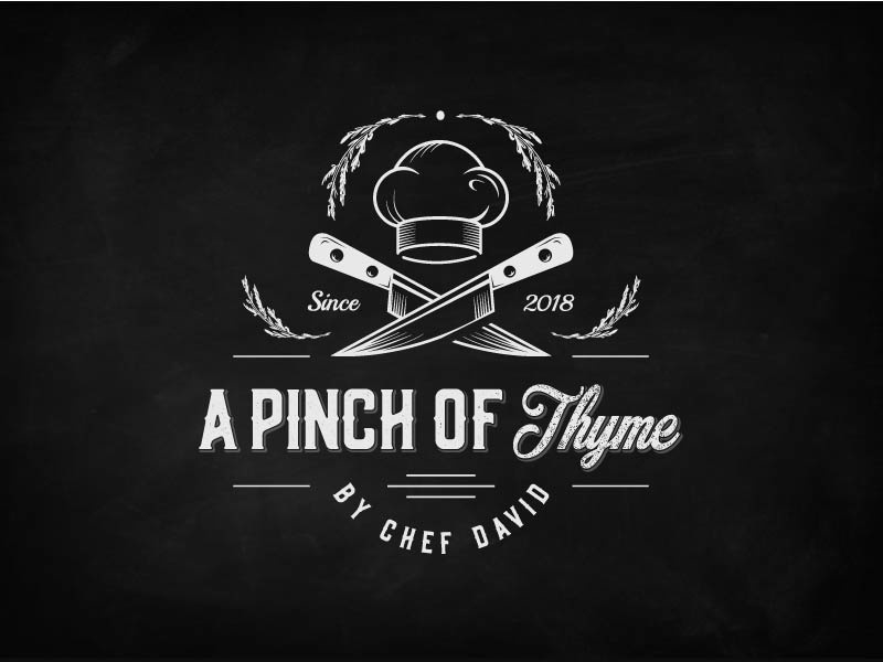 A Pinch Of Thyme Dribble ink vintage retro outline illustration cook restaurant. thyme food knifes cooking chef