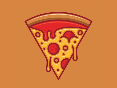 Pizza  dripping ketchup and melting cheese  modern logo design.