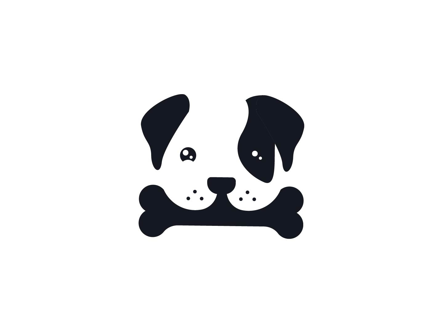 Cute long ears puppy holding a bone bones negativespace creative dog logo minimal bone puppy dog cute