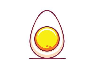 Boiled egg snack breakfast logo vector illustration vector boiled egg