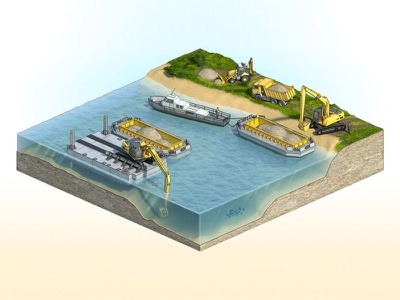 3d isometric river works scheme ship boat render landscape technology water isometry aerial view aerial lake river isometric engineering 3d illustration
