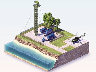 3d isometric radar station