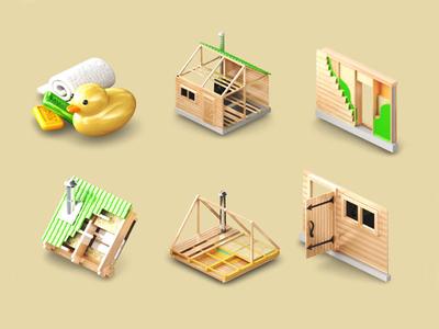 3d isometric sauna icons