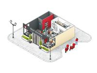 3d isometric restaurant S-version