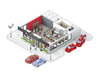 3d isometric restaurant L-version