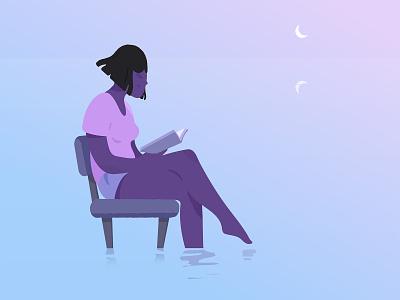 Calm. serenity calm moon chair woman women book reading sea feminine nature ocean girl blue purple pink adobe photoshop adobe illustrator illustrator illustration