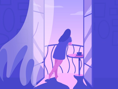 Balcony. banister indoors table relax cloud curtain paintings frames cup wind balcony olga hashim blue purple pink girl adobe photoshop adobe illustrator illustrator illustration