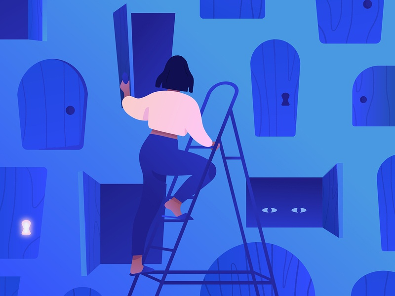 Self-searching knob searching search creature eyes ladder door mystical doors blue girl adobe photoshop illustrator adobe illustrator texture illustration