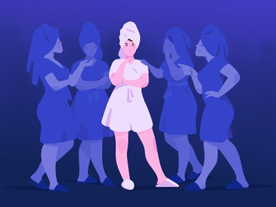 Indecision. hesitation inner voice conceptual chat conversation girls women indecision blue girl adobe photoshop adobe illustrator illustrator illustration