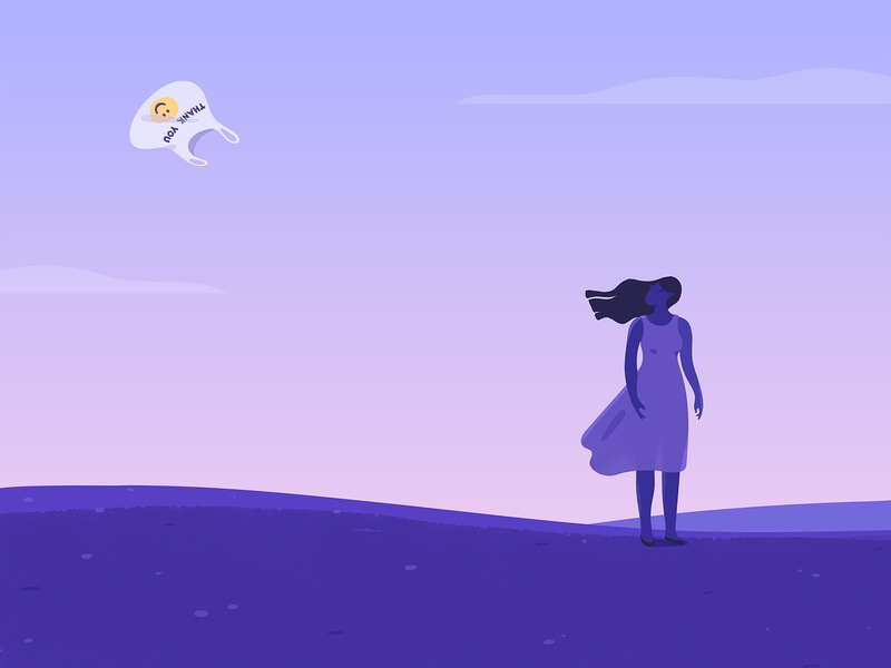 Thank You. planet backlit grass sky wind clouds nature field environment plastic bag plastic littering texture girl pink purple adobe photoshop adobe illustrator illustrator illustration