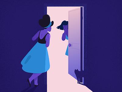 Secret. mystery door light skirt cat secret grainy grain purple blue girl adobe photoshop adobe illustrator texture illustrator illustration