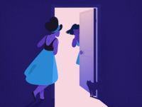 Secret. mystery door light skirt cat secret grainy grain purple blue girl adobe photoshop adobe illustrator texture illustrator illustration