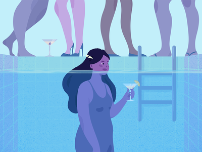 Introvert at a Party. comfort zone crowd water cocktail pool party party introverted introvert pool grainy grain purple blue girl adobe photoshop adobe illustrator texture illustrator illustration