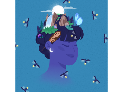 One's Mind. mountains butterfly waterfall feather moon fireflies firefly thoughts mind nature grainy grain purple blue girl adobe photoshop adobe illustrator texture illustrator illustration