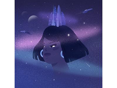 Universe. mind planet moon violet comet universe portrait head city futuristic spaceship stars space blue girl adobe photoshop adobe illustrator texture illustrator illustration