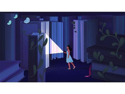 Maze. editorial discover explore search reader reading book books wander flashlight leaves plants maze blue girl adobe photoshop adobe illustrator texture illustrator illustration