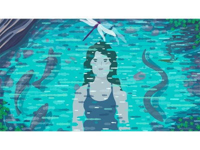 Swimming in the Wild Will Change You. editorial woman dragonfly boulder stone rocks ripple nature swimming heron eel fish reflection river water blue girl adobe photoshop adobe illustrator illustrator illustration