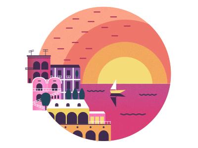 Positano adobe photoshop adobe illustrator olga hashim design inspiration graphic designer graphic design italy sunset city texture illustrator illustration