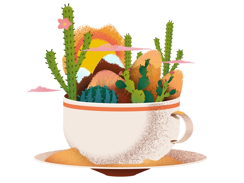 A Desert in a Teacup adobe photoshop adobe illustrator graphic design graphic designer texture yellow desert illustrator illustration